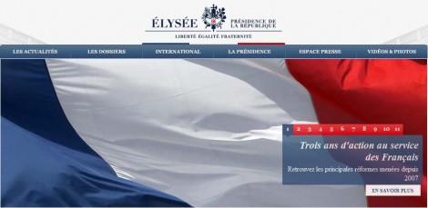 Capture d'écran de la page d'accueil du site de l'Elysée